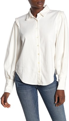 Frame Cinched Denim Button Down Shirt