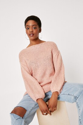 Nasty Gal Womens All Night Longline Knitted Boat Neck Sweater - Rose