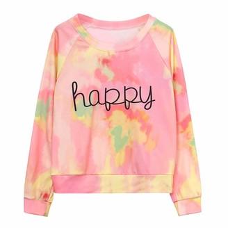 Toamen Women's Tops Womens Tops Toamen Clothes Sale Clearance Happy Letter Print Gradient Tie Dye Long Sleeve Shirt Blouse Jumper T-Shirt Pullover Sweatshirt(Pink 14)