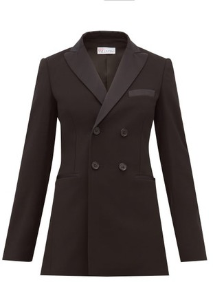 RED Valentino Double Breasted Tuxedo Jacket - Womens - Black