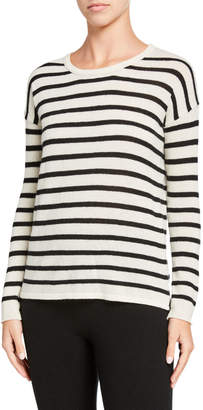 Amicale Striped Long-Sleeve Cashmere Sweater