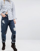 WÅVEN Aki Boyfriend Jeans with Patches and Destroy