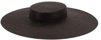 Erdem X Noel Stewart Floral-print Raffia Hat - Black Pink