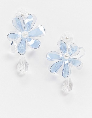 Topshop statement flower earrings with faux pearls
