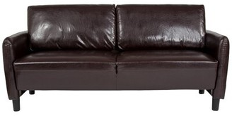 "Ebern Designs Stellert 71.5"" Wide Faux Leather Round Arm Sofa Upholstery Color: Brown Faux Leather"