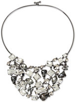 Kenneth Cole New York Hematite-Tone Metallic Crystal Statement Necklace