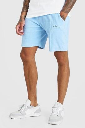 boohoo Mens Blue Man Signature Towelling Pintuck Shorts, Blue