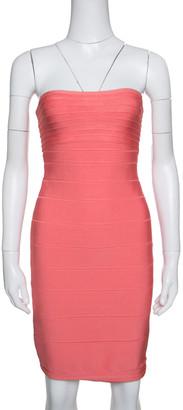 Herve Leger Peach Blush Knit Strapless Bandage Dress S