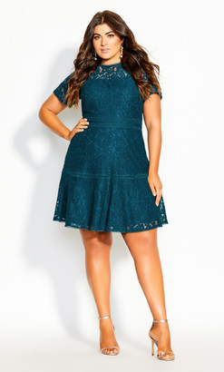 City Chic Lace Ravish Dress - jade
