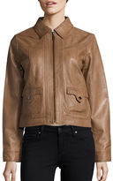 Bernardo Spread Collar Retro Leather Jacket