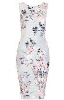 Quiz Grey And Pink Flower Print Stripe Midi Dress
