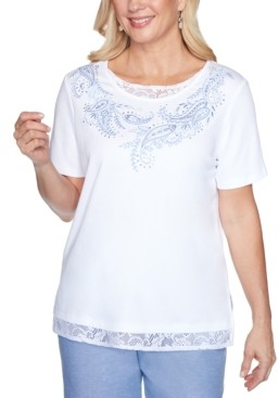 Alfred Dunner Petite Bella Vista Lace-Inset Embroidered Top