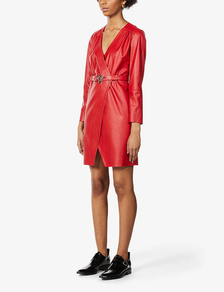 Pinko Belted faux-leather mini dress