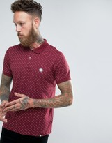 Pretty Green Shirt With Polka Dot In Slim Fit Burgundy