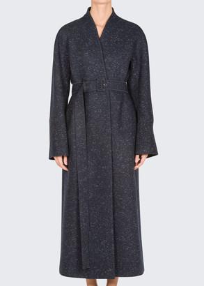 Agnona Belted Cashmere Tweed Long Coat