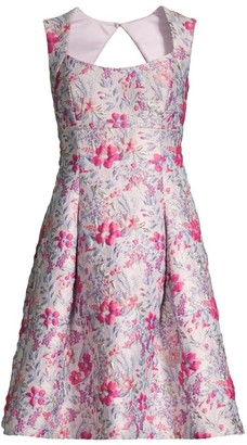 Aidan Mattox Floral Jacquard Cocktail Dress