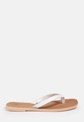 Missguided Faux Leather Flip Flops