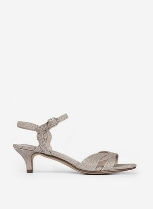 Dorothy Perkins Womens Gold 'Sunray' Kitten Heeled Sandals, Gold