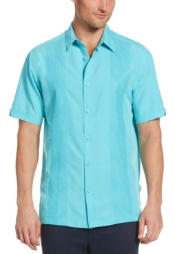 Cubavera Men's Tonal Geo-Embroidered Panel Shirt