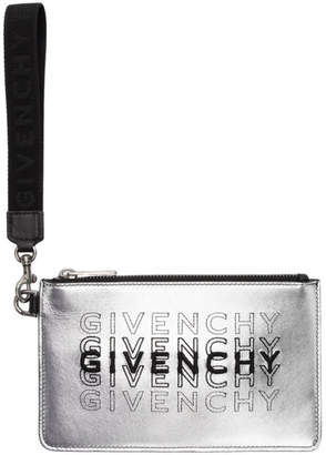 Givenchy Silver Mini Metallized Wrist Strap Pouch