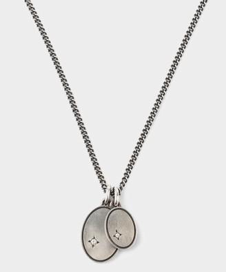 M. Cohen Gudo Oval Necklace in Silver with White Diamonds