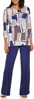 Alfred Dunner Crescent City 3/4 Sleeve Colorblock Top