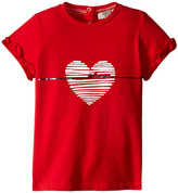 Armani Junior Shirt with White Heart and Ruffled Sleeves (Infant)