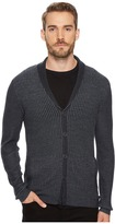 John Varvatos Waffle Knit Shawl Collar Cardigan Men's Sweater