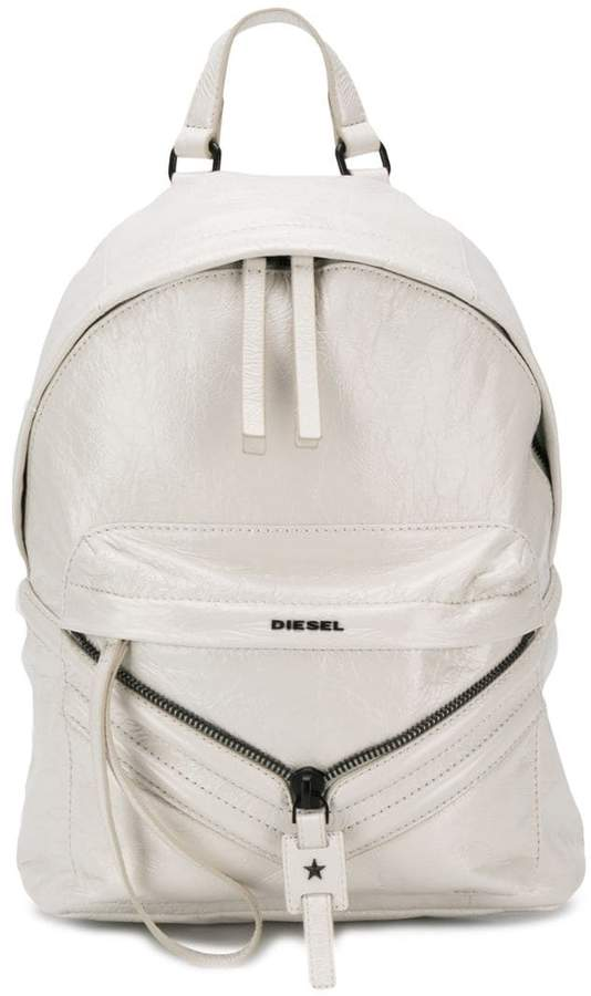 Diesel coated leather patched backpack