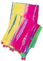 Tashia Silk Tie Dye Pompom Scarf: Pink