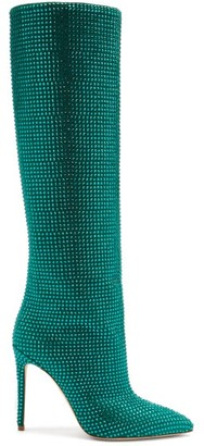 Paris Texas Holly Crystal-embellished Suede Knee-high Boots - Dark Green