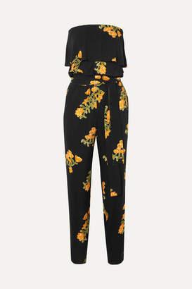 Vix Madi Strapless Floral-print Voile Jumpsuit - Black