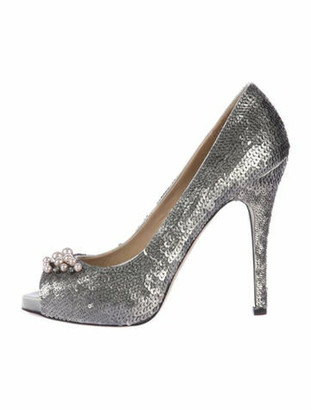 Valentino Faux Pearl Accents Crystal Embellishments Pumps Metallic