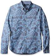 Nautica Men's Long Sleeve Slim Fit Printed Button Down Shirt