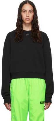 Off-White Black Cropped Shifted Sweatshirt