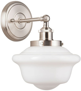 Linea Di Liara Lavagna 1 Light Schoolhouse Wall Sconce w/ Milk Glass, Brushed Nickel