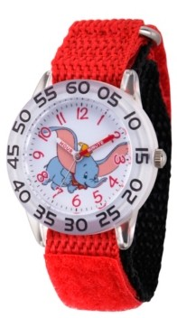 EWatchFactory Girl's Disney Dumbo Red Plastic Time Teacher Strap Watch 32mm