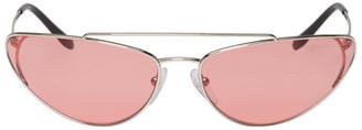 Prada Silver and Pink Metal Oval Sunglasses