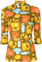 Miu Miu belted phone print top