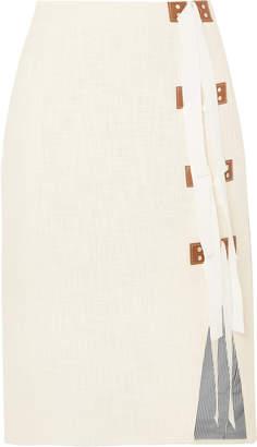 Altuzarra Sorbonne Grosgrain And Leather-trimmed Cotton-tweed Skirt