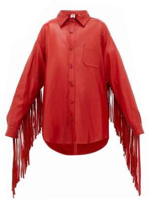 Vetements Fringed Sleeve Leather Shirt Jacket - Womens - Red