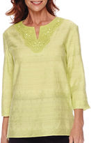 Alfred Dunner Sao Paolo 3/4-Sleeve Textured Tunic