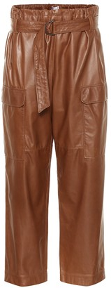 Brunello Cucinelli High-rise cropped leather pants