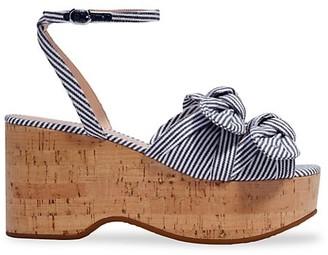 Kate Spade Stripe Julep Ankle-Strap Platform Wedge Sandals