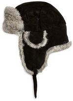 Crown Cap Rabbit Fur-Trimmed Suede Trapper Hat