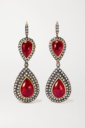 Amrapali Sterling Silver-plated 18-karat Gold, Ruby And Diamond Earrings - one size