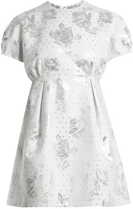 Emilia Wickstead Arielle Floral-jacquard Mini Dress - Womens - White Silver