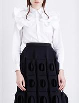 Junya Watanabe Ruffle shoulder cotton-poplin shirt