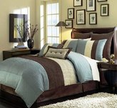 Grand Linen King Luxury Stripe Comforter Set, Blue/Beige/Brown