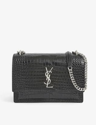 Saint Laurent Sunset croc-effect leather shoulder bag
